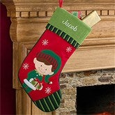 Santa's Little Helper Elf Embroidered Stockings- Boy - 12472-B