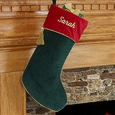 Velvet Splendor Christmas Stocking - Forest Green - 12476-G