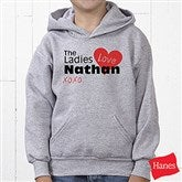 The Ladies Love Me Personalized Youth Hooded Sweatshirt - 12521-YHS
