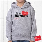 The Ladies Love Me Grey Youth Hooded Sweatshirt - 12521-GHS