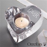 Orrefors Monogrammed Couples Crystal Heart Votive - 12566