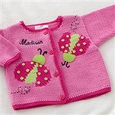 Ladybug Love Embroidered Handknit Sweater - 12572-S