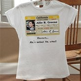 Driver's License Personalized Birthday White Fitted Tee - 12587-FTW
