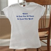Birthday Greetings Personalized White Ladies Fitted Tee - 12599-FTW