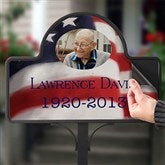 American Flag Memorial Stake With Photo Magnet - 12704-S
