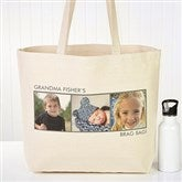 Picture Perfect Personalized Canvas Tote-3 Photos - 12734-3