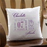 Baby's Big Day Personalized Keepsake Pillow - 12786