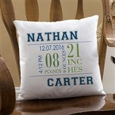 Baby's Big Day Personalized Keepsake Pillow - 12787