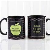 Teachers Green Apple Personalized Coffee Mug 11oz.- Black - 12925-B