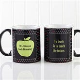 Teachers Green Apple Personalized Black Handled Mug - 12925-B
