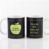 Teachers Green Apple Personalized Coffee Mug 11 oz.- White - 12925-S