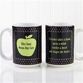 Teachers Green Apple Personalized Coffee Mug 15 oz- White - 12925-L