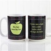 Teachers Green Apple Personalized Coffee Mug 15 oz- White - 12925-L