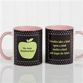 Teachers Green Apple Personalized Coffee Mug 11oz.- Pink - 12925-P
