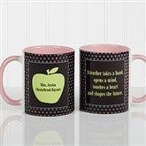 Teachers Green Apple Personalized Coffee Mug 11oz.- Pink - 12925-P