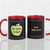 Teachers Green Apple Personalized Coffee Mug 11oz.- Red - 12925-R