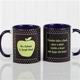 Teachers Green Apple Personalized Coffee Mug 11oz.- Blue - 12925-BL