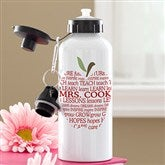 Teachers Apple Scroll Personalized Water Bottle - 12926