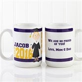 Graduation Character Personalized Coffee Mug 15 oz.- White - 12954-L