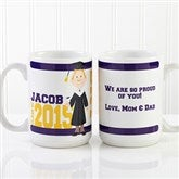 Graduation Character Personalized Coffee Mug 15 oz.- White - 12954-L