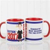 Graduation Character Personalized Coffee Mug 11oz.- Red - 12954-R