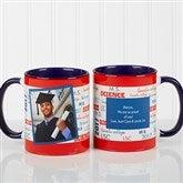 School Spirit Graduation Personalized Photo Coffee Mug 11oz.- Blue - 12958-BL