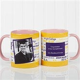 School Spirit Graduation Personalized Photo Coffee Mug 11oz.- Pink - 12958-P