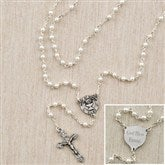 1st Communion Girl's Personalized Pearl Rosary - 12989