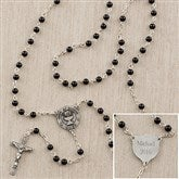 1st Communion Boy's Personalized Black Onyx Rosary - 12990