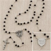 1st Communion Boy's Personalized Black Glass Bead Rosary - 12990
