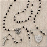 First Communion Boy's Personalized Black Glass Bead Rosary - 12990