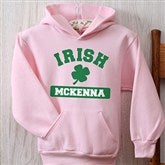 Irish Pride Pink Personalized Youth Hooded Sweatshirt - 13008-PHS