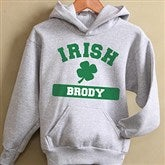 Irish Pride Grey Personalized Youth Hooded Sweatshirt - 13008-GHS