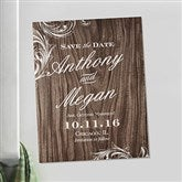 Wood Carving Personalized Save The Date Magnets - 13045-M