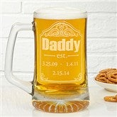 Date Established Personalized Deep Etch Beer Mug - 13058