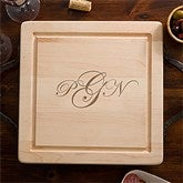 Maple Leaf Raised Monogram Square Cutting Board-Handles - 13072D-H-R