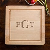 Maple Leaf Raised Monogram Square Cutting Board-No Handles - 13072D-NH-R