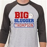 Big Slugger Personalized Grey Adult Baseball T-Shirt - 13074-ABT