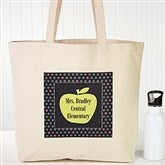 Teacher's Green Apple Personalized Tote Bag - 13095