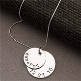 Mother's Personalized Stacking Discs Necklace - 2 Discs - 13100D-2