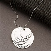 Mother's Personalized Stacking Discs Necklace -4 Discs - 13100D-4
