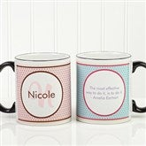 Polka Dot Monogram Personalized Coffee Mug 11oz.- Black - 13137-B