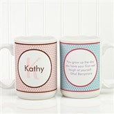 Polka Dot Monogram Personalized Coffee Mug 15oz.- White - 13137-L