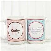 Polka Dot Monogram Personalized Coffee Mug 15oz.- White - 13137-L