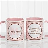 Polka Dot Monogram Personalized Coffee Mug 11oz.- Pink - 13137-P