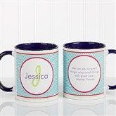 Polka Dot Monogram Personalized Coffee Mug 11oz.- Blue - 13137-BL