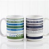 Signature Stripe Personalized Coffee Mug 15oz.- White - 13148-L