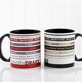 Signature Stripe Personalized Coffee Mug 11oz.- Black - 13148-B