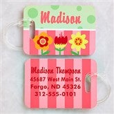 Pretty Flowers Personalized Luggage Tag 2 Pc Set - 13181