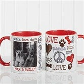 Peace, Love, Dogs Photo Coffee Mug 11oz.- Red - 13349-R